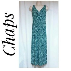 Chaps Dresses - Chaps Sleeveless Maxi-Dress Blue Green Size Medium